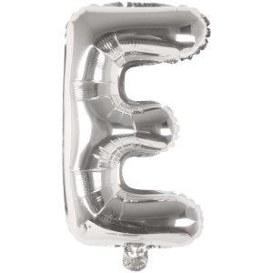 Buchstabenballon von Rico Design aus silberner Folie. Der Buchstabe E wird in diesem Fall angeboten.