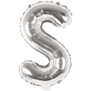 Buchstabenballon von Rico Design aus silberner Folie. Der Buchstabe S wird in diesem Fall angeboten.