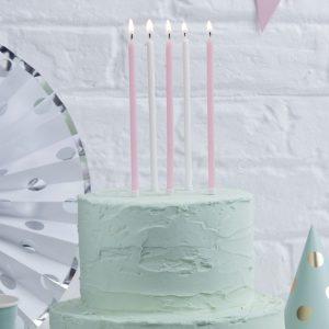 Kuchenkerzen XL, rosa & weiß, Ginger Ray