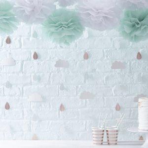 Wolken & Regentropfen, Girlande, Ginger Ray, Roségold, Weiß, Mint