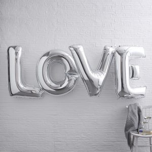 """Love"" Girlande Ginger Ray, Folienballons, Silber"