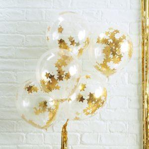 Konfetti Ballon, Ginger Ray, Gold, Sterne