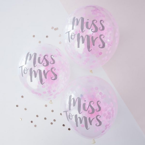 Konfetti Ballon, From Miss to Mrs, Ginger Ray, Pink, Rosa