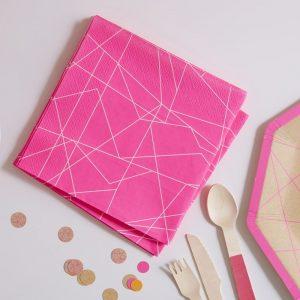 Serviette, Pink, Geometrisch, Ginger Ray