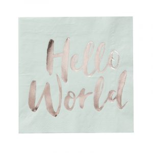 Serviette, Hello World, Mintgrün, Roségold, Ginger Ray