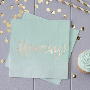 Serviette, mint, gold, Hooray, Party, Ginger Ray