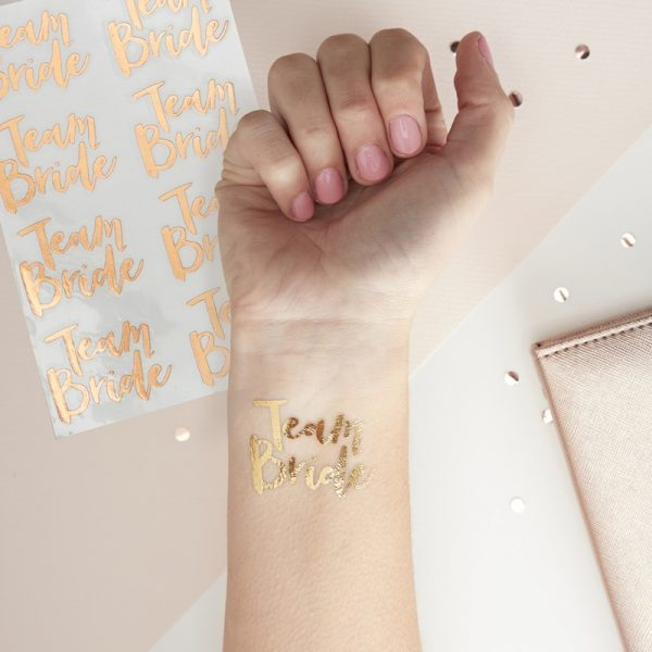 Party Tattoo, Team Bride, Gold, Ginger Ray