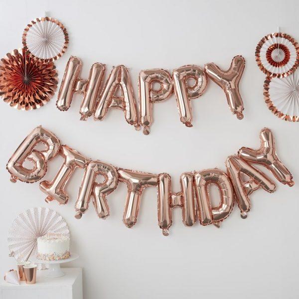 """Happy Birthday"" Girlande Ginger Ray, Folienballons, Roségold"