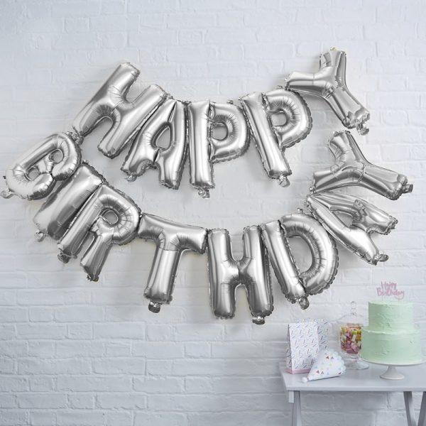 """Happy Birthday"" Girlande Ginger Ray, Folienballons, Silber"