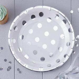 Partyteller Polka Dots Silber Ginger ray Fawntastique