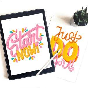 iPad Lettering mit Succulente und Workshop