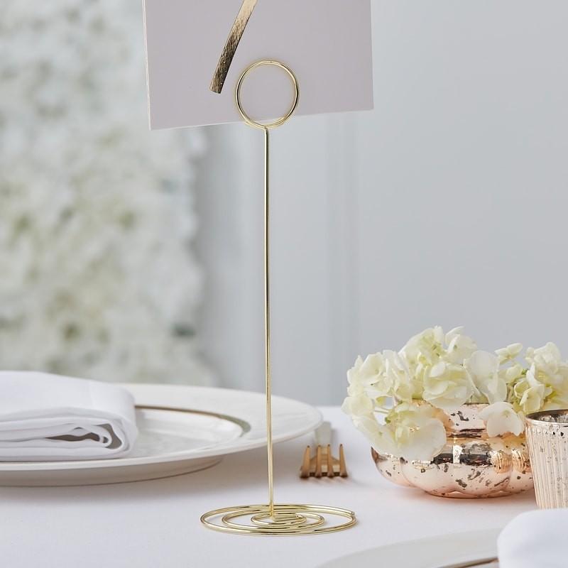 Tischnummern Halter Groß Metall Gold