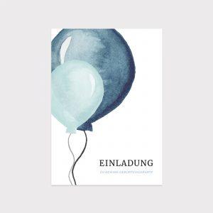 Einladung Geburtstag Ballons Blau Fawntastique