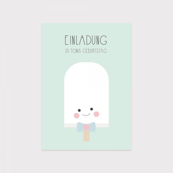 Einladung Kindergeburtstag Eis Mint Fawntastique