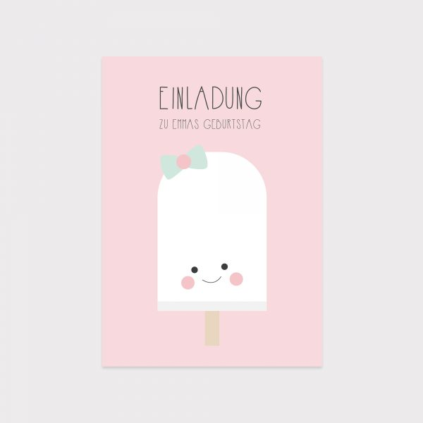 Einladung Kindergeburtstag Eis Rosa Fawntastique