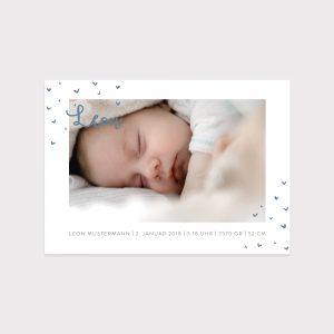Babykarte kleine Herzen blau Fawntastique