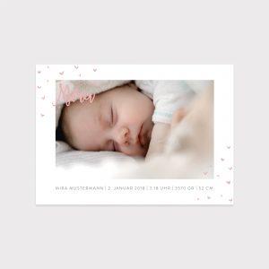 Babykarte kleine Herzen rosa Fawntastique