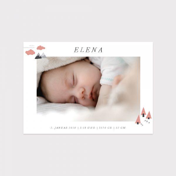 Babykarte Skandinavisch rosa Fawntastique