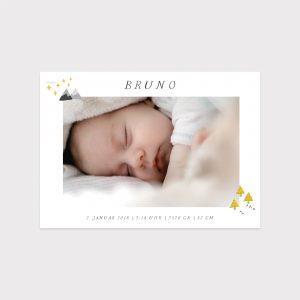 Babykarte Skandinavisch gelb Fawntastique