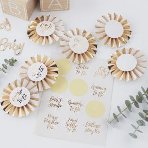 Badges Gold Weiß Baby Shower Ginger Ray Fawntastique