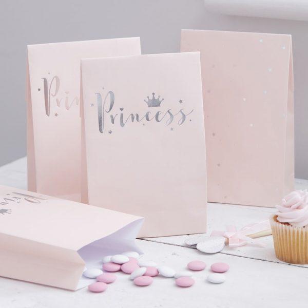 Tüte Goodie Bag Prinzessin Silber Rosa JGA Fawntastique