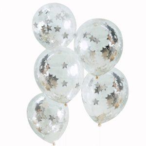 Konfetti-Luftballons Silber Sterne Ginger Ray Fawntastique