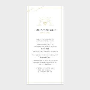 DIN Lang Einladungskarte mit goldenen Linien