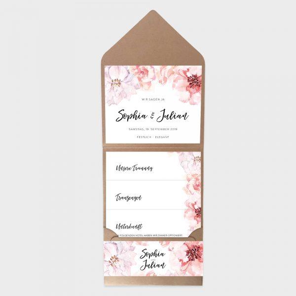 Pocketfolder Hochzeitseinladung mit Aquarellblumen