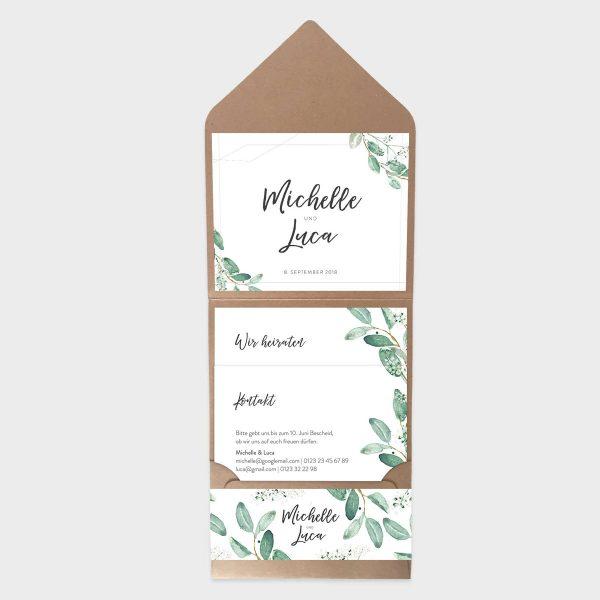 Pocketfolder Hochzeitseinladung mit Aquarell Eukalyptus