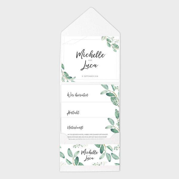 Pocketfolder Weiß Hochzeitseinladung mit Aquarell Eukalyptus
