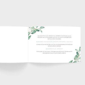 Hochzeitseinladung im klassischen B6 Format mit Eukalyptus Aquarellmotiv