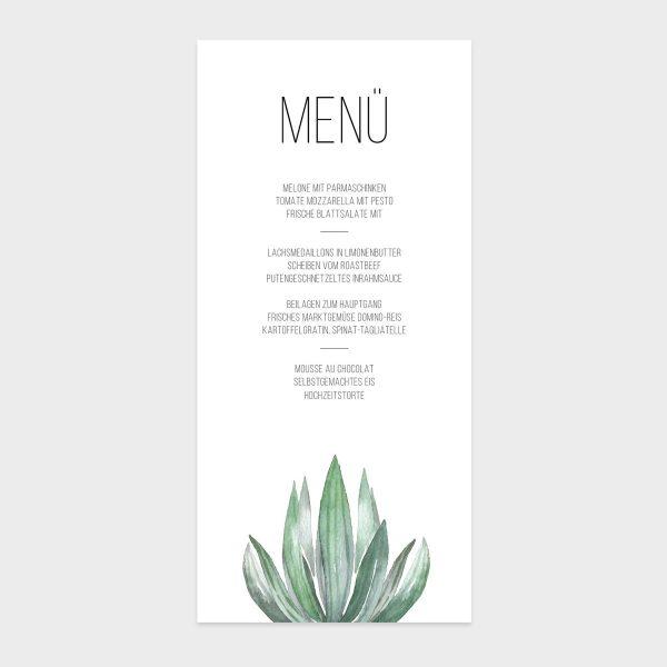 Menükarte mit Succulentenmotiv für Hochzeit