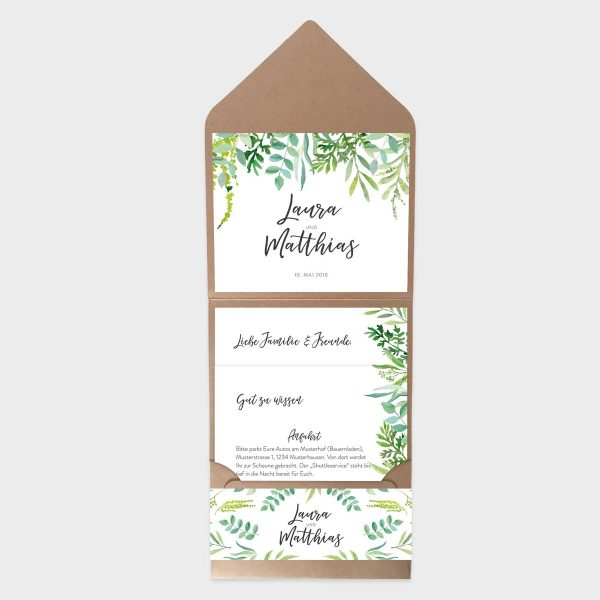 Pocketfolder Hochzeitseinladung mit Greenery Motiv