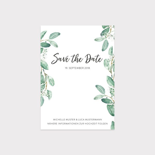 Save The date Karte mit Eukalyptusmotiv
