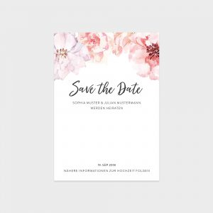 Save The Date Karte mit Aquarellblumen