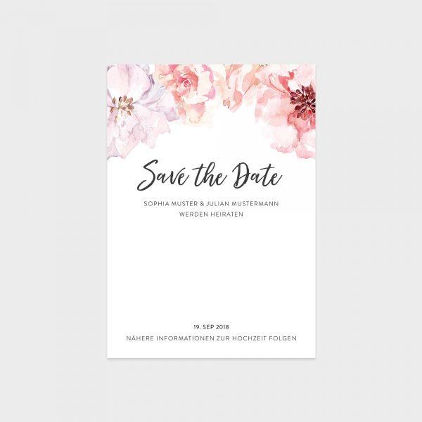 Save The Date Karte mit Aquarellblumen